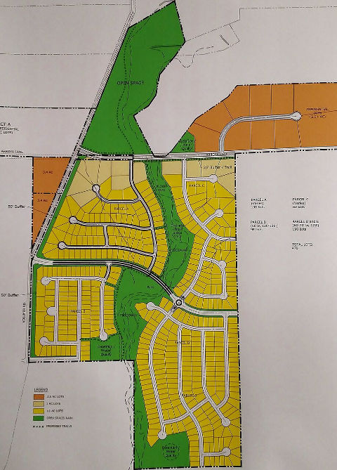 If approved, The Retreat at TimberRidge will include the following: open space represented in green; 1-acre lots represented in tan; 2.5-5-acre lots represented in orange; and lots	with a higher density	than 1 lot per acre represented	in yellow.